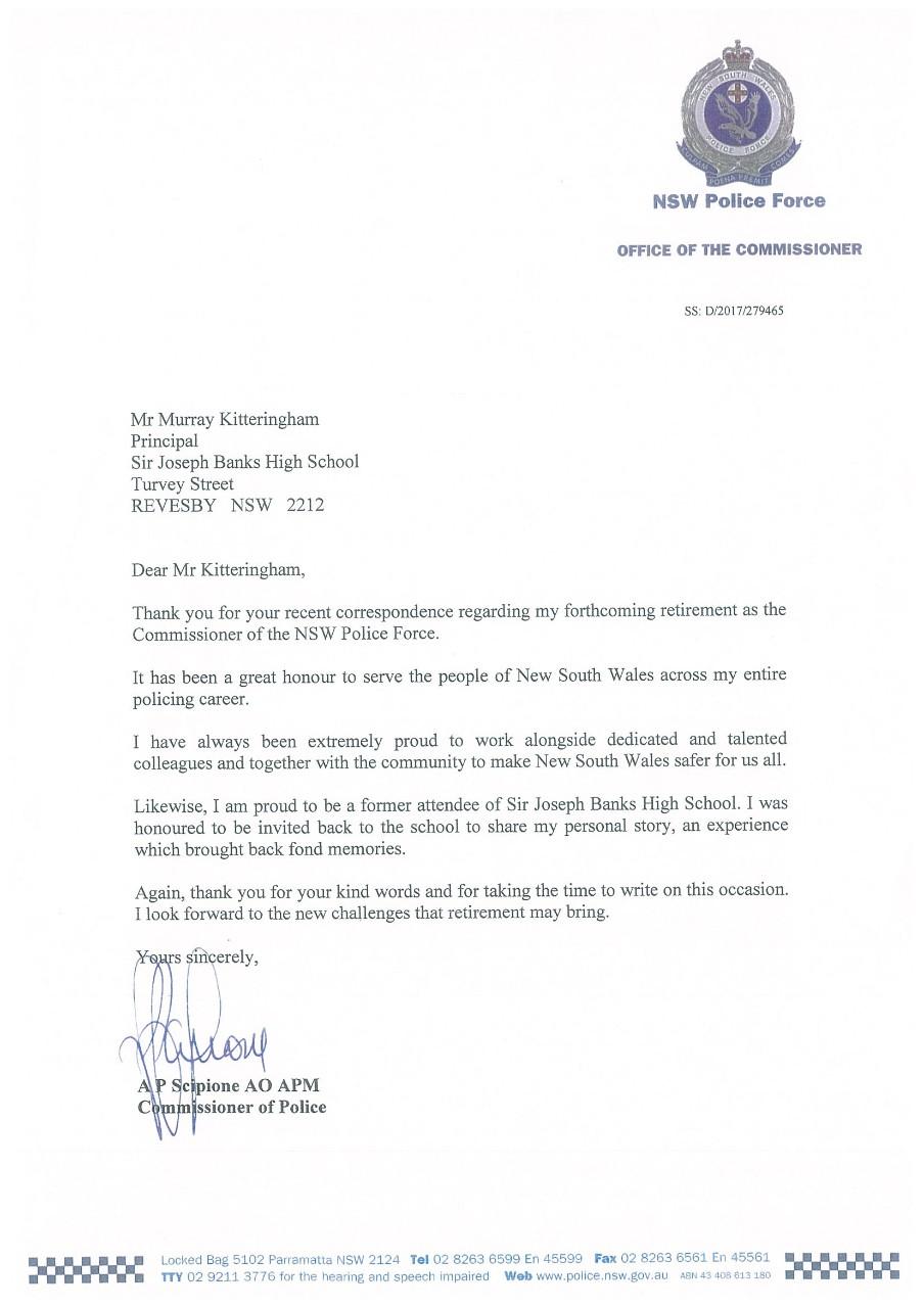 Thank you, Andrew Scipione - Sir Joseph Banks High School